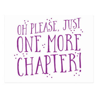 oh please just one more chapter! book design postcard