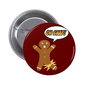 Oh Snap! Funny Christmas Gingerbread Man 6 Cm Round Badge