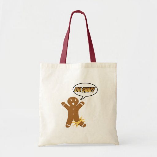 Oh Snap! Funny Christmas Gingerbread Man Canvas Bags