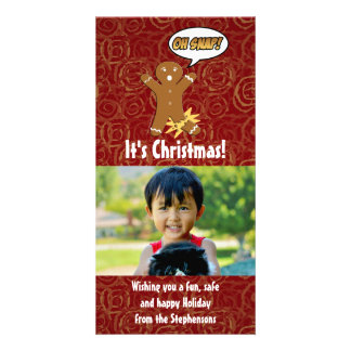 Oh Snap Funny Christmas Gingerbread Man Broken Leg Photo Cards