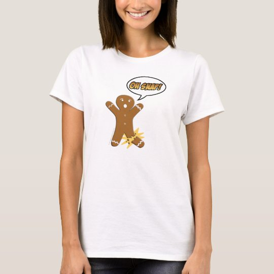 Oh Snap Funny Christmas Gingerbread Man Broken Leg T-Shirt