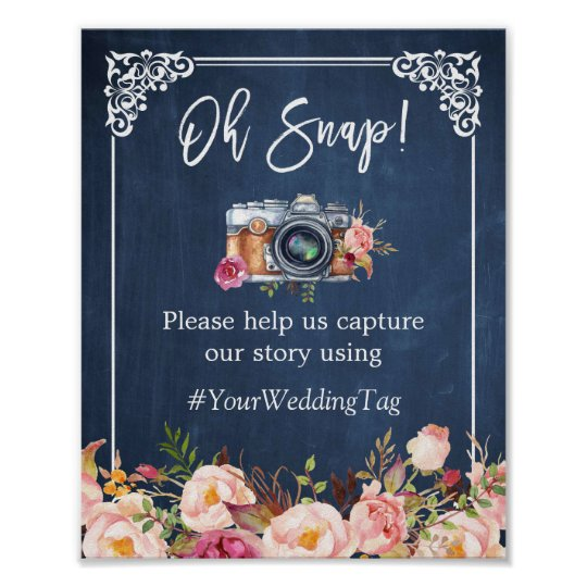 Oh Snap Instagram Hashtag Floral Navy Blue Wedding