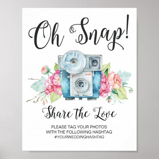 Oh Snap Vintage Camera Hashtag Wedding Sign