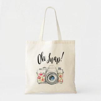 Oh Snap, Watercolor Camera Illustration Tote Bag