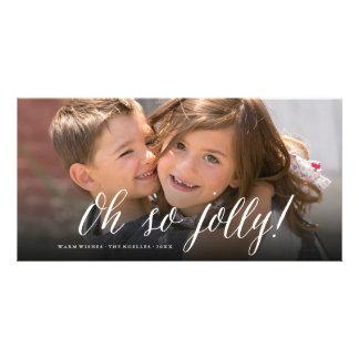Oh So Jolly! Simple Script Fun Photo Holiday Card Custom Photo Card