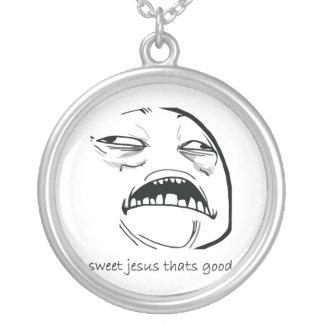 Oh Sweet Jesus Thats Good Rage Face Meme Round Pendant Necklace