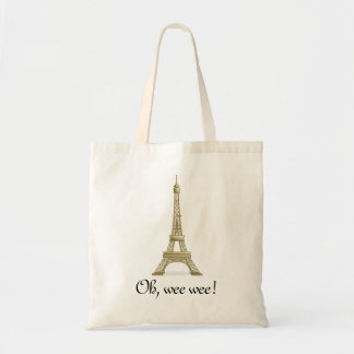 Oh, Wee Wee: Eiffel Tower Tote Canvas Bags