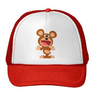 """Oh well..."" Shrugging Cartoon Bear Hat"