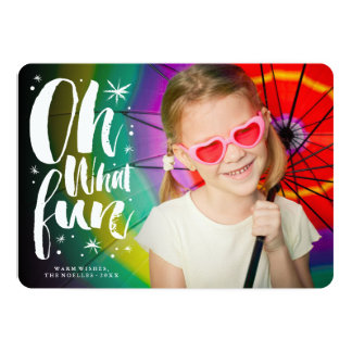 Oh What Fun Brushed Stars Christmas Photo Card 13 Cm X 18 Cm Invitation Card