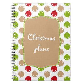 Oh What Fun! Christmas bells custom notebook