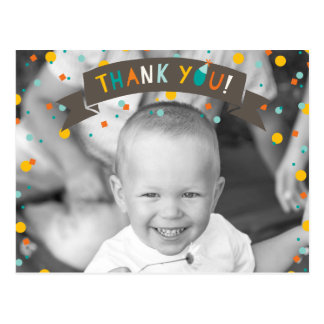 Oh What Fun Confetti Boy Birthday Thank You Photo Postcard