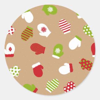 Oh What Fun! Mittens design Classic Round Sticker