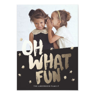 OH WHAT FUN PHOTO GOLD Christmas Card 13 Cm X 18 Cm Invitation Card