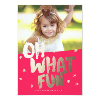 OH WHAT FUN PHOTO RED Christmas Card 13 Cm X 18 Cm Invitation Card
