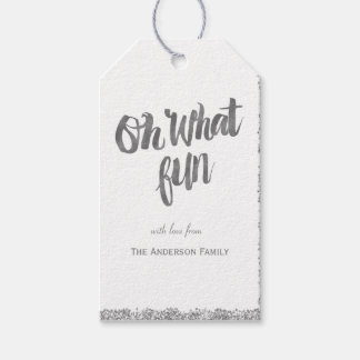 Oh what fun silver glitter gift tags