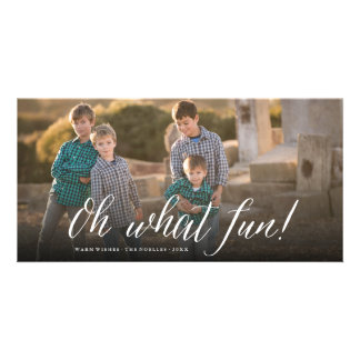 Oh What Fun! Simple Script Photo Holiday Card Personalised Photo Card
