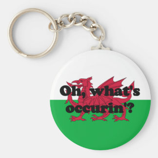 'Oh, what's occurin'?' Basic Round Button Key Ring