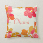 Ohana Hawaiian Family Hibiscus Throw Pillow Throw Cushion