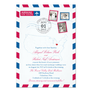 "Ohio Airmail   WEDDING 5"" X 7"" Invitation Card"