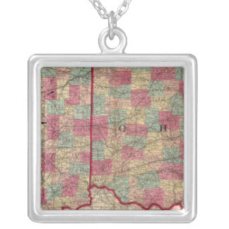 Ohio and Indiana 3 Silver Plated Necklace