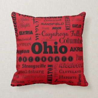 Ohio cities typography throw pillow in red/black