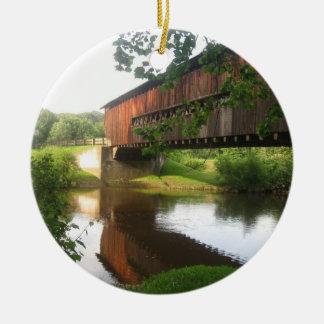 Ohio Covered Bridge and Stream Christmas Ornament