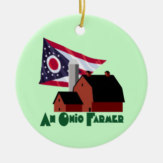 Ohio Farmer Round Ceramic Decoration