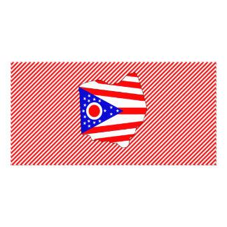Ohio Flag Map Photo Greeting Card