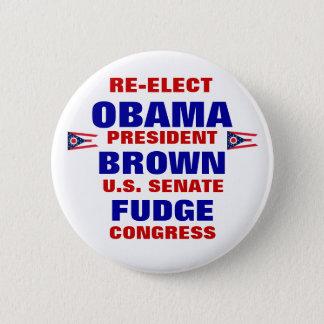 Ohio for Obama Brown Fudge 6 Cm Round Badge