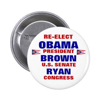 Ohio for Obama Brown Ryan 6 Cm Round Badge