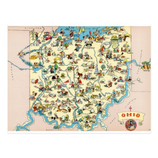 Ohio Funny Vintage Map Postcard