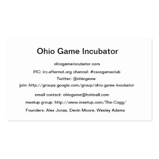 Ohio Game Incubator Cheat Sheet Cards Pack Of Standard Business Cards