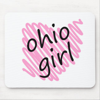 Ohio Girl with Scribbled Ohio Map Mouse Pad