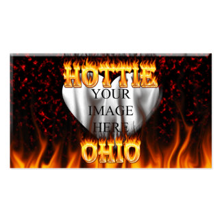 Ohio Hottie fire and red marble heart. Pack Of Standard Business Cards