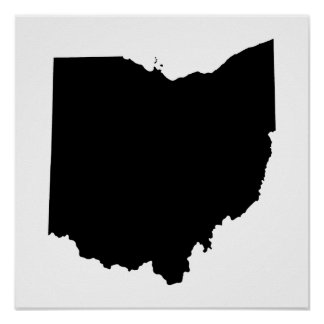 Ohio in Black and White Poster