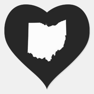 Ohio in White and Black Heart Sticker