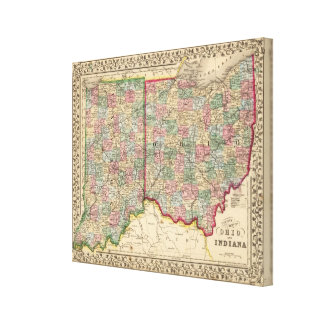 Ohio, Indiana Map by Mitchell Canvas Print