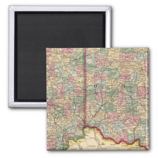 Ohio, Indiana Map by Mitchell Square Magnet