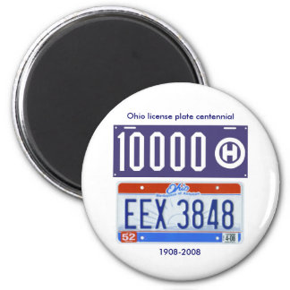 Ohio license plate centennial fridge magnet