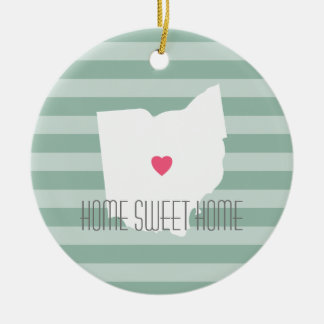 Ohio Map Home State Love with Custom Heart Christmas Ornament