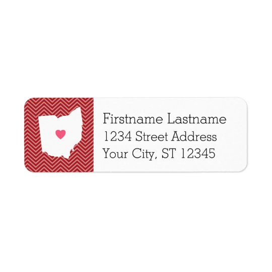 Ohio Map Home State Love with Optional Heart Return Address Label