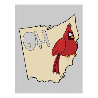 Ohio OH Map & Cardinal Bird Cartoon Art Motto Postcard