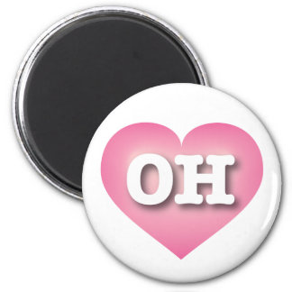 Ohio OH pink fade heart 6 Cm Round Magnet