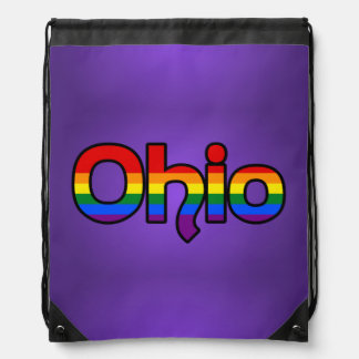 Ohio Rainbow text Backpack Drawstring Bag