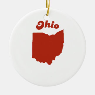 OHIO Red State Double-Sided Ceramic Round Christmas Ornament