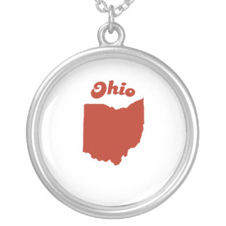 OHIO Red State Round Pendant Necklace