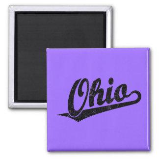 Ohio script logo in black distressed square magnet