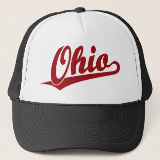 Ohio script logo in red trucker hat