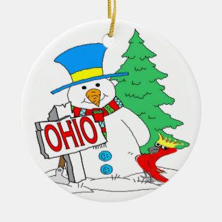 Ohio Snowman Cardinal Christmas Ornament