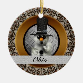 Ohio Snowman Christmas Ornament